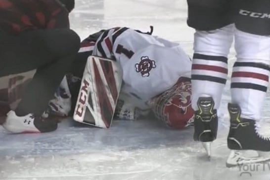 Video: OHL-maalivahti loukkaantui karmivasti - jäällä valtava verilammikko, ottelu keskeytettiin