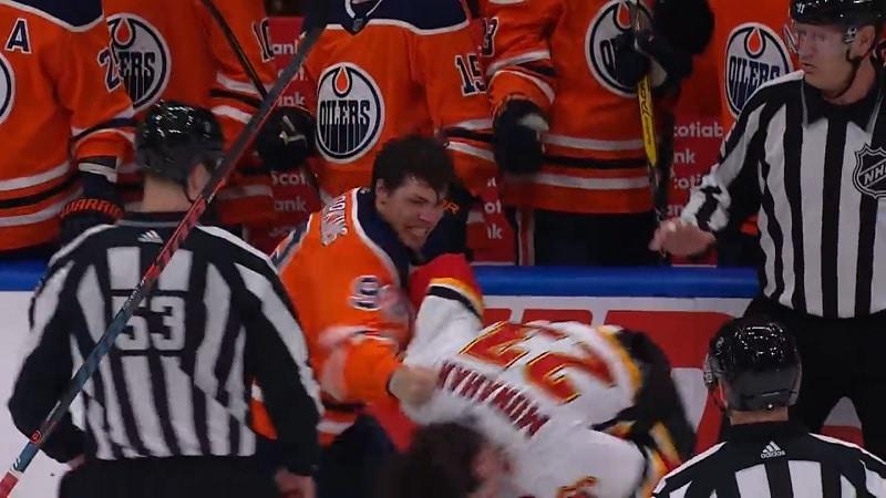 Video: Flames ja Oilers pistivät jälleen nyrkit heilumaan – jopa taitopelaajat myllyttivät