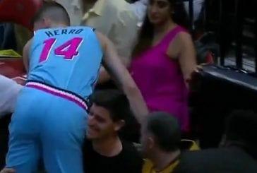 Video: Real Madridin Thibaut Courtois joutui torjuntatöihin NBA-matsissa - esti loukkaantumisen