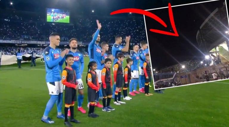 """Video: UCL-hymni Napolin stadionin ulkopuolelta kuultuna – yleisön """"Champions"""" on vakuuttavaa kuultavaa"""