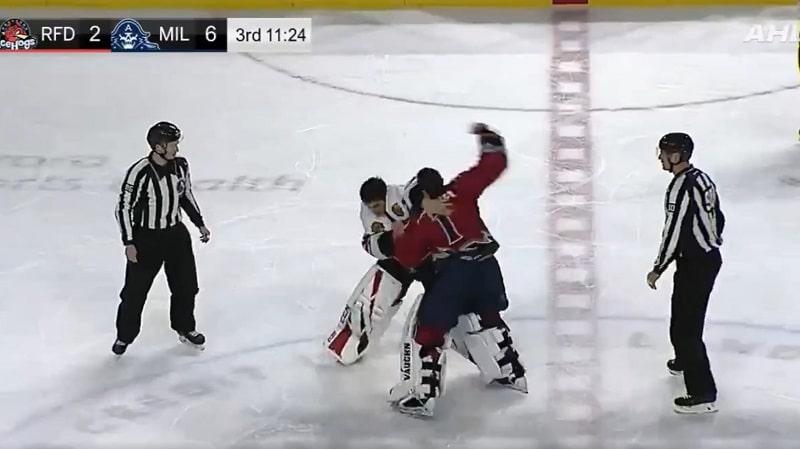 Video: Torikokous eskaloitui AHL:ssä – maalivahdit ottivat yhteen ja lensivät suihkuun