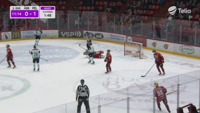 Video: Ässä-vahti Sami Aittokallio mörhöili oikein urakalla – Pelicans iski nöyryyttävän alivoimamaalin