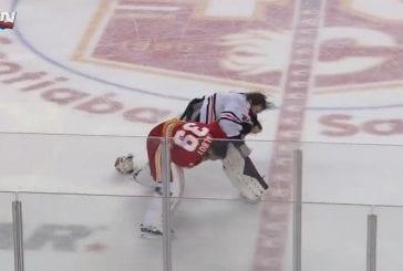 Video: Maalivahditkin tappelivat Flames-Oilers -pelissä - joukkotappelu keskeytti erän