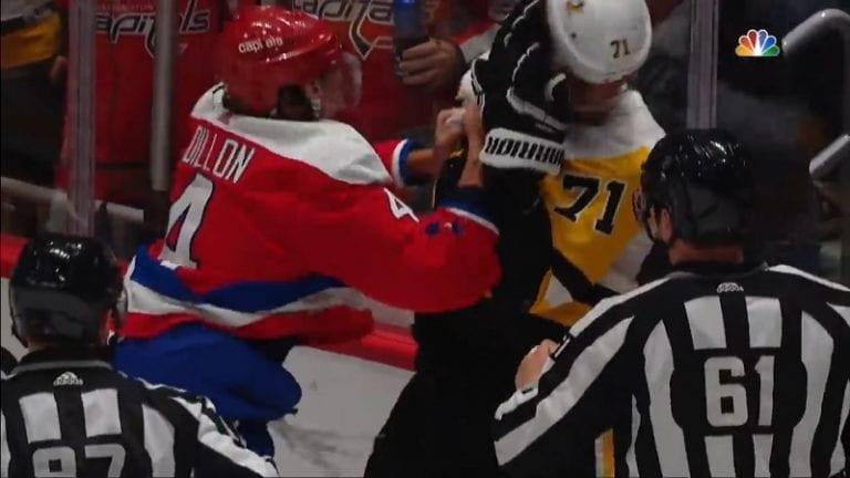 """Video: Jevgeni Malkin """"tappeli"""" Capitals-pakin kanssa – melkoista rimpuilua ja räpellystä"""