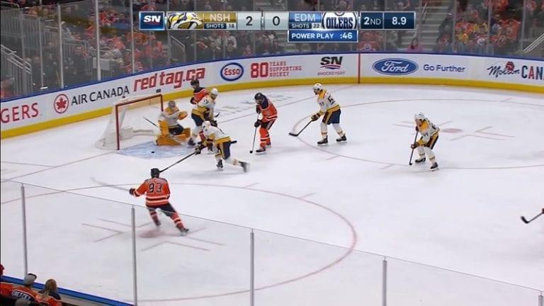 Video: Oilersin kiri käynnistyi melkoisella flipperipompulla – Nashvillen Kyle Turris teki oman maalin