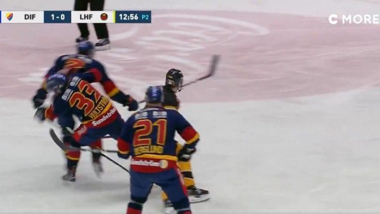 Video: SHL:ssä harvinaisempi päähän kohdistunut taklaus – Djurgården-pakki veti oman pelaajan kylmäksi