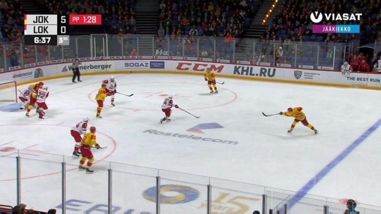 Video: Mikko Lehtonen venytti verkkoa upealla pyssyllä – Jokerit murskasi Lokomotivin playoff-avauksessaan