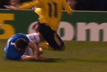 Video: Portsmouth-pakki veti rujot sakset - Arsenalin Lucas Torreira vietiin kentältä paareilla