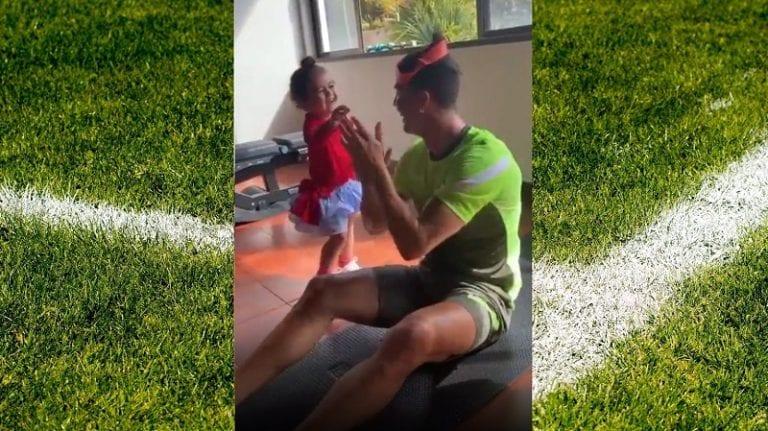 Video: Cristiano Ronaldon kotitreeni on koko perheen juttu – käytti lapsiaan painoina