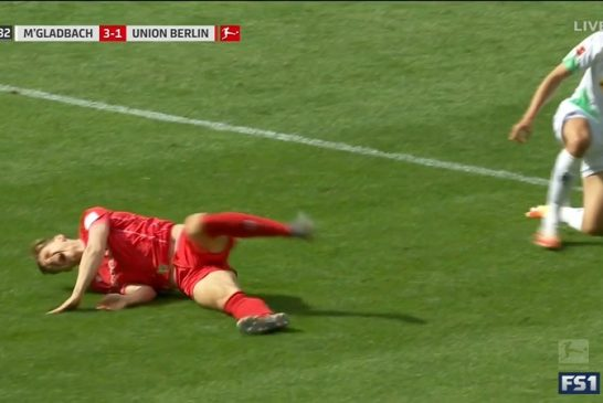 Video: Bundesliiga-pelaaja kävi kentällä synkän viisiminuuttisen verran - yksi pallokosketus, polvi solmuun ja peli ohi