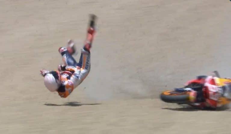 Video: MotoGP:n tähtikuljettaja Marc Marquez kaatui hurjalla tavalla
