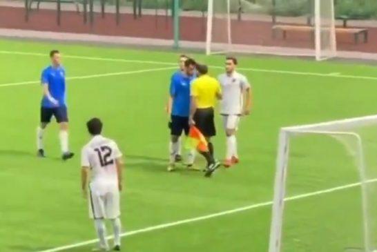Video: Jalkapalloilija maksoi hintaa jatkuvasta suunsoitostaan - avustava erotuomari painoi turpaan