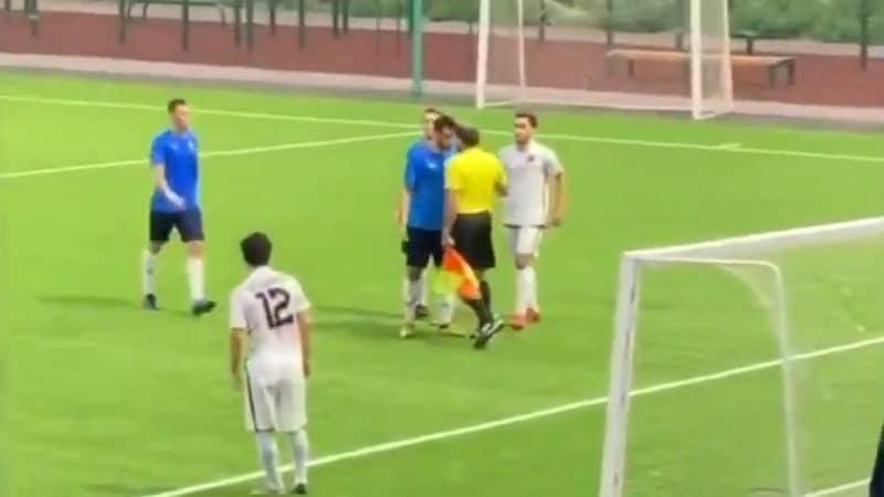 Video: Jalkapalloilija maksoi hintaa jatkuvasta suunsoitostaan – avustava erotuomari painoi turpaan