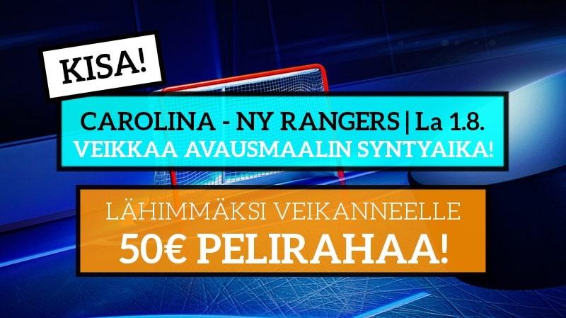 Carolina – NY Rangers -KISA! – Lähimmäksi veikanneelle 50€ pelirahaa