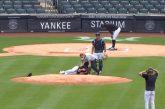 Video: Pelottava tilanne New York Yankeesin harjoituksissa - syöttäjä sai kovan lyönnin suoraan päähän