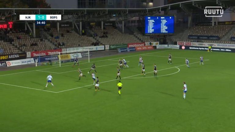 Video: Aivan hervoton pommi – HJK:n Rasmus Schüller tykitti millintarkan vedon tolpan kautta yläpeltiin