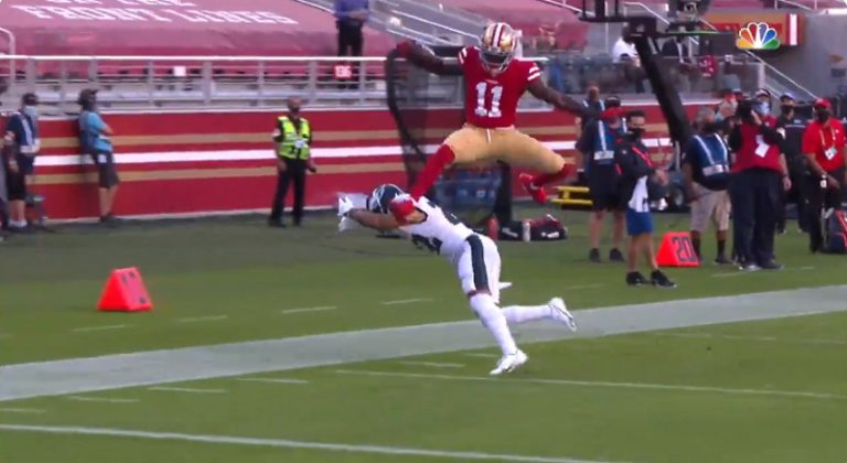 Video: San Francisco 49ersin tulokas rynnisteli mahtavan touchdownin
