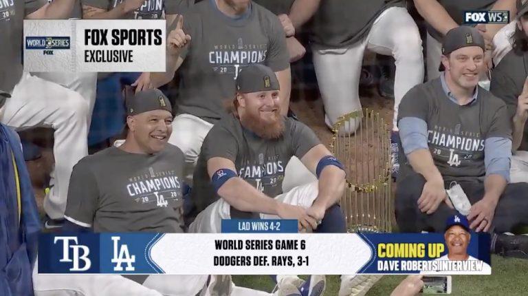 Video: Dodgers-tähti vedettiin sivuun koronaviruksen vuoksi kesken ratkaisevan finaalin  – palasi kentälle juhlimaan mestaruutta