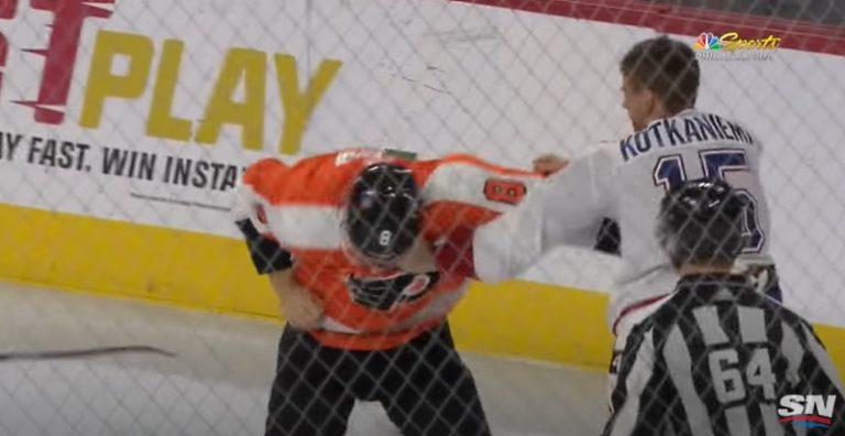 Klassikkovideo: Jesperi Kotkaniemi myllytti NHL:ssä – antoi Flyers-pelurille kunnon möyhennyksen
