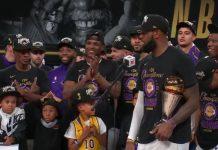 LA Los Angeles Lakers NBA mestaruus LeBron James - pallomeri.net