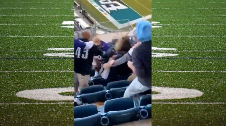 Video: Tunteet kuohuivat NFL-katsomossa – Eagles-fani painoi vierasjoukkueen kannattajaa lättyyn