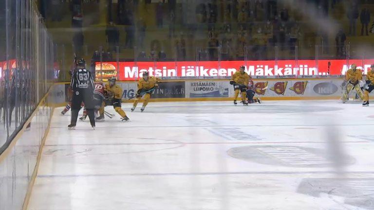 Video: SaiPa-hyökkääjä lensi pihalle rumasta tempusta – polvitaklaus kolahti ikävästi HIFK-pakkiin