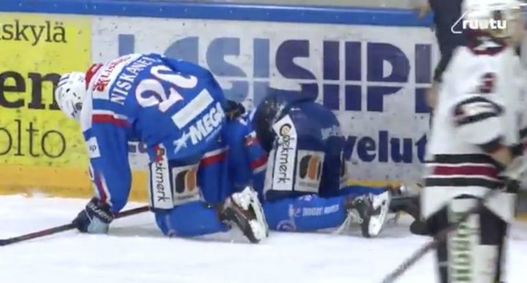 Video: Markus Kankaanperä isoista ovista pihalle Mestiksessä – taklasi vastustajaa päähän