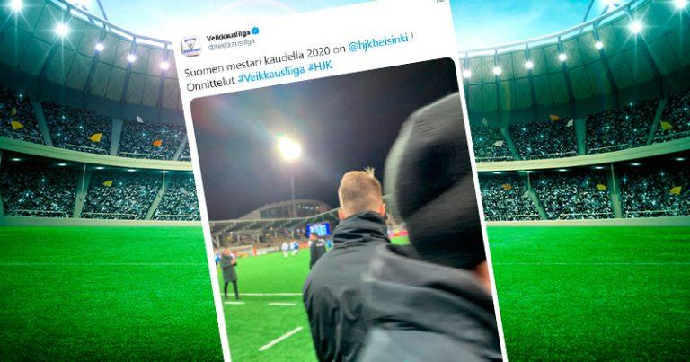 """""""HJK on mestari!"""" – Veikkausliigan karmea some-päivitys saa naureskelua osakseen"""