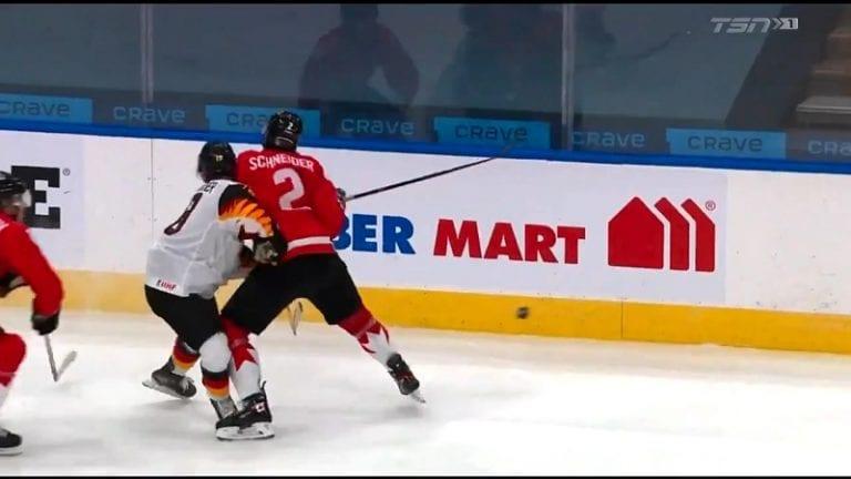 Video: Kanadan pakki sai pelikieltoa U20 MM-kisoissa – kolautti Saksan pelaajaa suoraan päähän