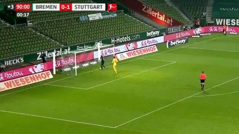 Video: Stuttgart-hyökkääjä yllätti Bremenin housut kintuissa – löi vielä lisää löylyä veskarille ennen kuin pisti pallon maaliin