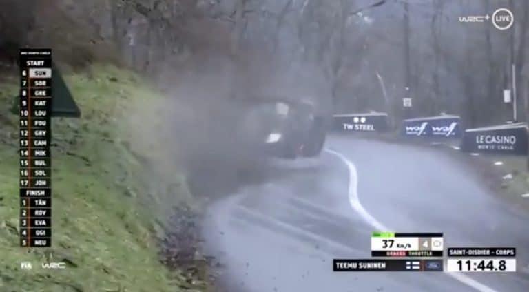 Video: Teemu Suninen ajoi rajusti ulos Monte Carlon MM-rallin 1. erikoiskokeella