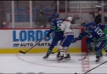 Tyler Myers Joel Armian loukkaantuminen vs Vancouver / Pallomeri.net