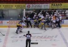 Ambri-Piotta vs Geneve-Servette joukkotappelu / Pallomeri.net