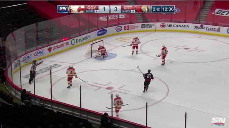 Video: Ottawan Erik Brännström osui puolesta kentästä Calgaryn verkkoon