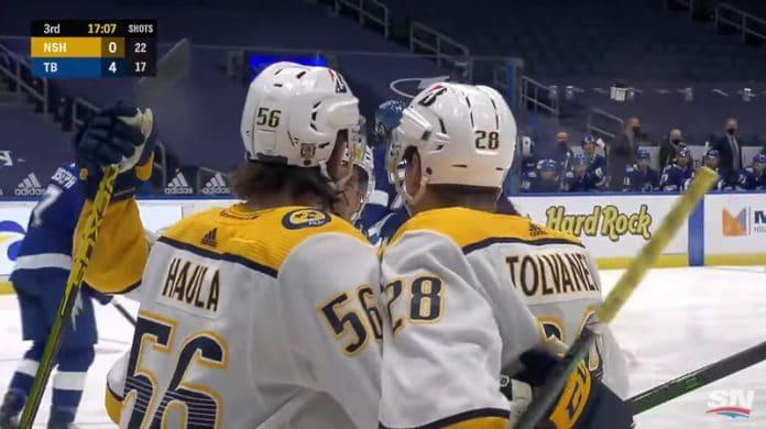 Erik Haula Eeli Tolvanen Nashville Predators NHL - pallomeri.net