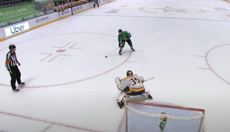 Video: Pekka Rinne nappasi rankkarin kiinni jäätävällä mailatorjunnalla