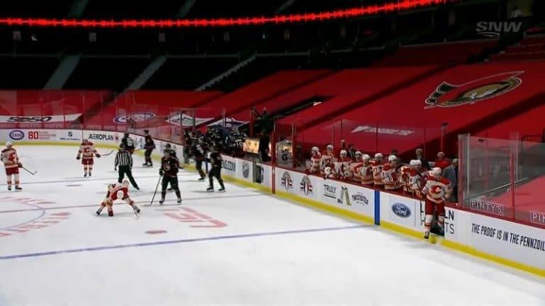 Video: Senators-veskarille uran 1. voitto – Flames-pakki yritti pölliä muistokiekon