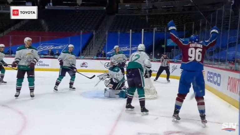 Video: Mikko Rantanen osui rystyvedolla miinuskulmasta