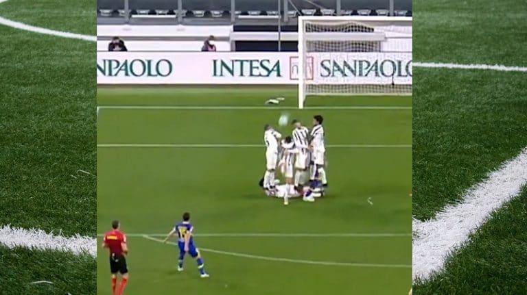 Video: Parman vapaapotku meni Juventus-muurista läpi – Cristiano Ronaldo suojeli naamaansa