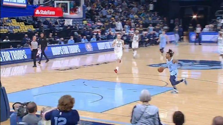 Video: Huikea temppu NBA:n playoffeissa – Grizzliesin Ja Morant tempaisi 360-asteisen donkin