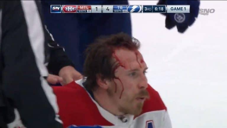 Video: Veri lensi NHL:n finaaliavauksessa – Montrealin Brendan Gallagher jyrättiin päälleen jäähän