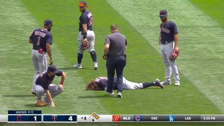 Video: Cleveland Indians-pelurin ilmalento päättyi karseasti – jalka rusentui järkyttävästi alle