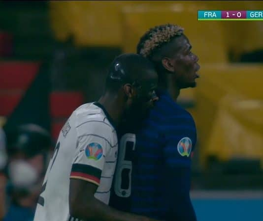 Saksan Antonio Rüdiger puree Ranskan Paul Pogbaa / Pallomeri.net