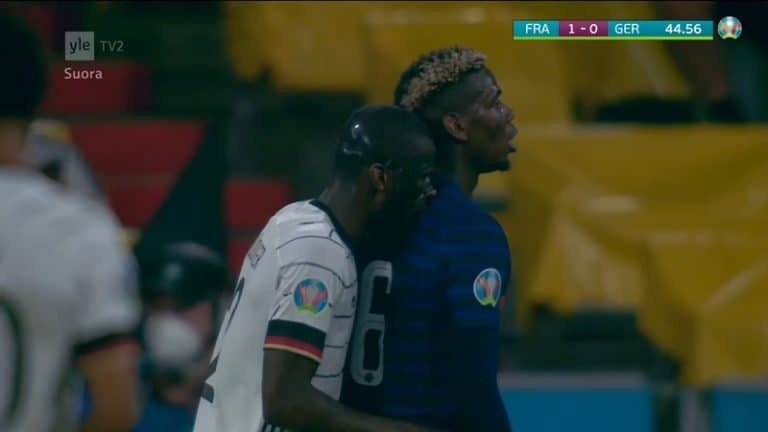 Video: Törkeä temppu meni tuomareilta ohi – Saksan Antonio Rüdiger puraisi Ranskan Paul Pogbaa