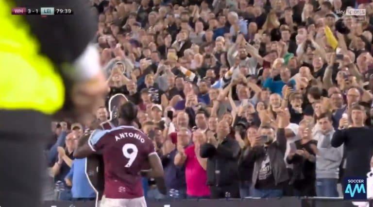 Video: West Hamin Michail Antonio tuuletti historiallista osumaansa antaumuksella – suuteli omaa pahvikuvaansa