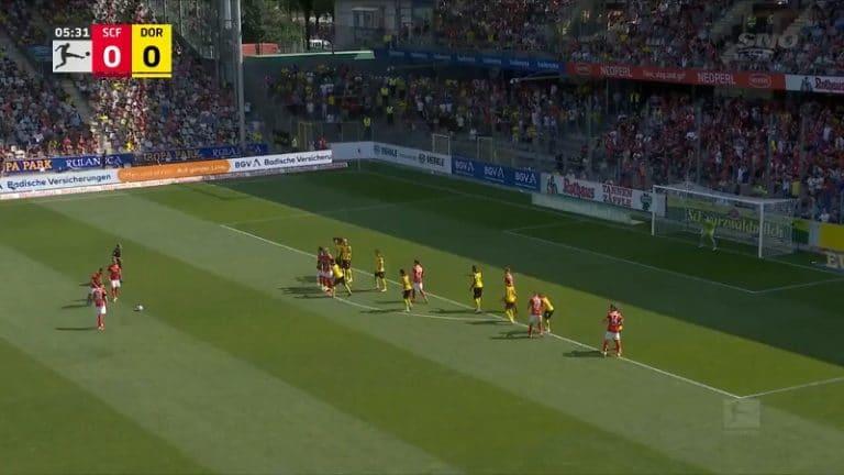 Video: Mahtava tykitys 25 metristä – Freiburgin pelaaja latasi unelmakudin vapaapotkusta
