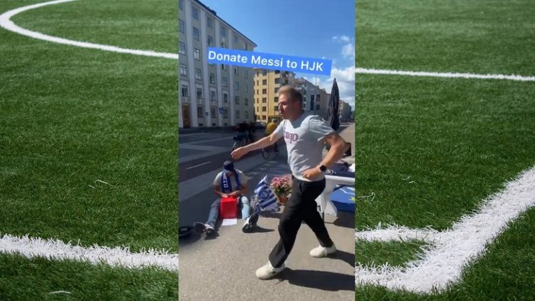 Video: HJK:n toimitusjohtaja Aki Riihilahti pisti itsensä likoon – tanssi kadulla kerätäkseen varoja Messin hankintaan