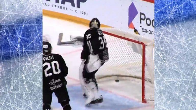 Video: Huima säkämaali KHL:ssä – Dinamo Minskin pelaajan veto epäonnistui juuri sopivalla tavalla