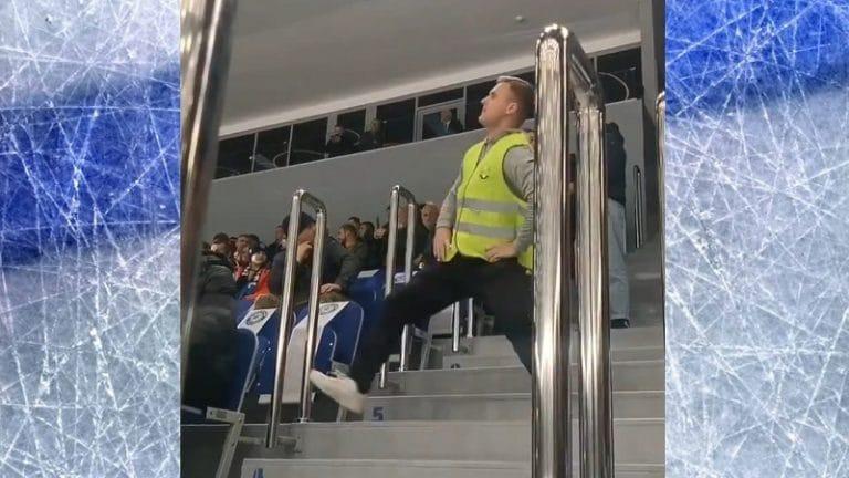 Video: Järjestysmies innostui Sibirin KHL-pelissä – huikea tanssinäytös pelikatkolla